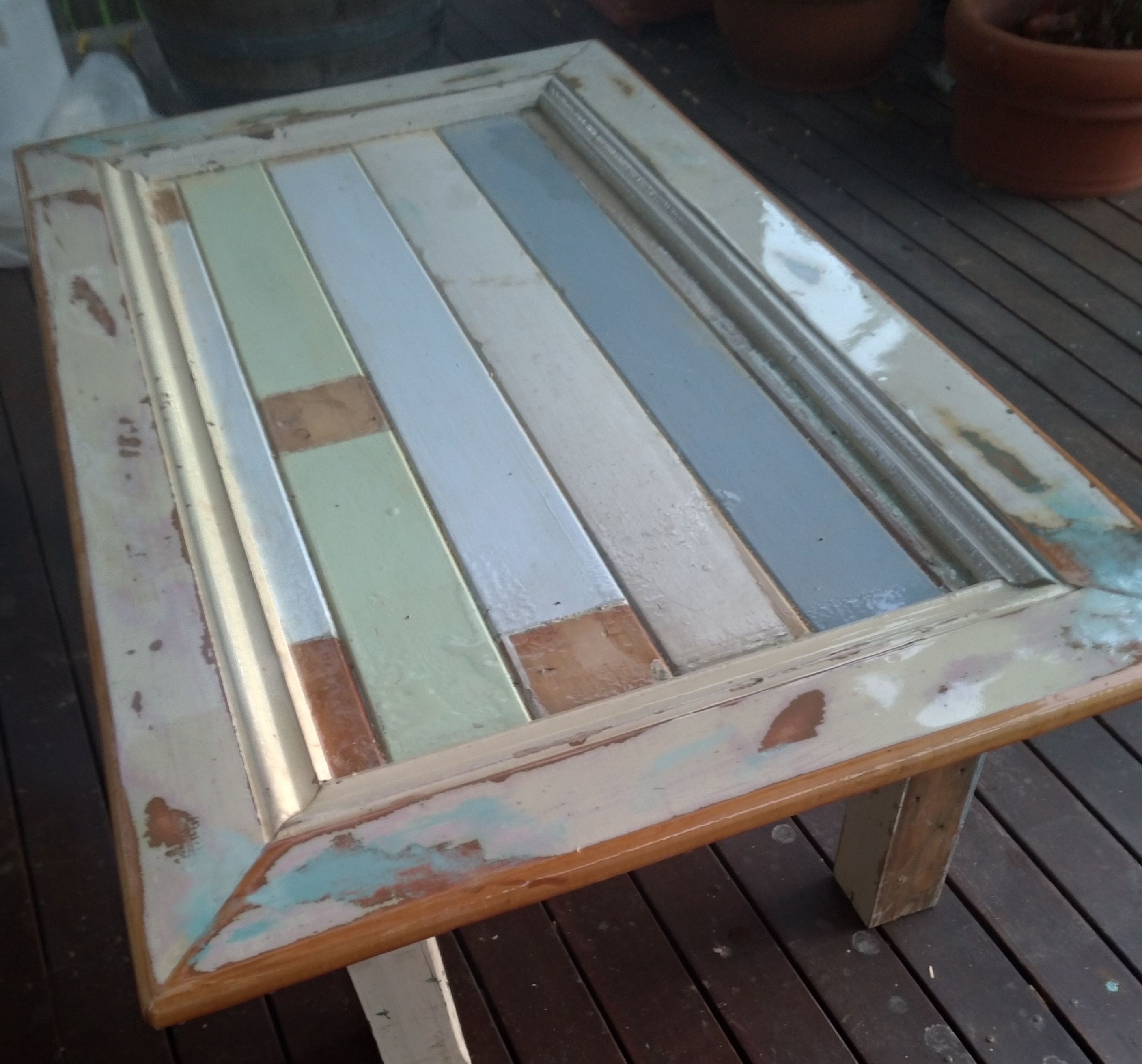 Epoxy Resin Shabby Chic Beach Themed Coffee Table Featuring Vintage 1930 S Hoop Pine Handmade Tables
